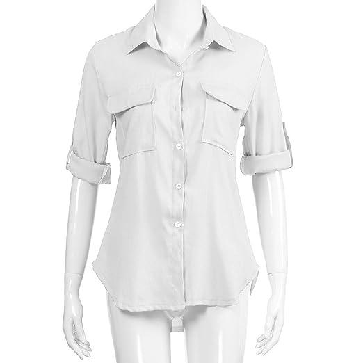 4df2864fc09be SHOBDW Mujeres V Cuello Blusa Pura Atractiva Grandes Suaves OL Ladies  Sueltas Camisas de Bolsillo Tallas Tops Camisa de Manga Larga  Amazon.es   Ropa y ...