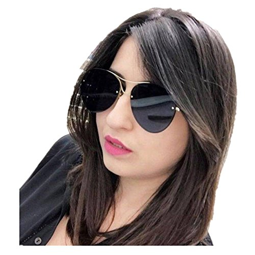 QingFan Unisex Fashion Retro Round Vintage Aviator Cat Eye Mirrored Women Sunglasses (B, - B Sunglasses L