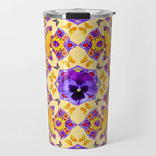 Society6 Stainless Steel Travel Coffee Mug, 20 oz, PURPLE PANSIES & GOLD BUTTERFLIES KALEIDOSCOPE CREAM by ()