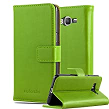Cadorabo – Luxury Book Style Wallet Design Case for Samsung Galaxy GRAND PRIME with 2 Card Slots and Stand Function - Etui Case Cover Protection Pouch in GRASS-GREEN