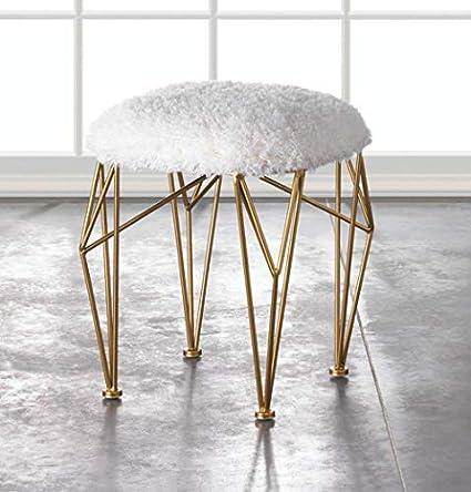Tremendous Amazon Com White Faux Fur Ottoman Makeup Vanity Stool Andrewgaddart Wooden Chair Designs For Living Room Andrewgaddartcom
