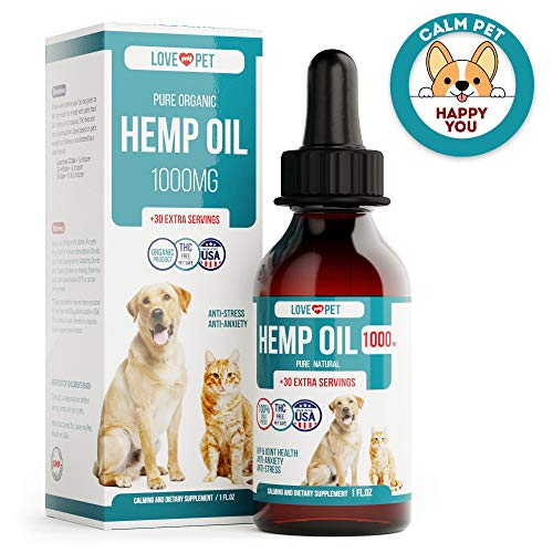 Love My Pet Hemp Oil for Dogs - 1000 mg - Provides Anxiety Relief - Natural Support for Hip & Joint - Better Mood and Sleep - 100% Organic Treat and Food Supplement - Grown and Extracted in USA