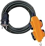 Brennenstuhl 1151781 Cordon prolongateur Powerblock + 4 prises à clapet IP44 10 m H07RN-F 3G2,5 Noir