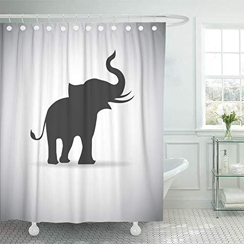 (Emvency Shower Curtain Waterproof Adjustable Polyester Fabric Tail Silhouette Elephants Trunk Alone Animal Child Hanging Pose Single 60 x 72 Inches Set with Hooks for)