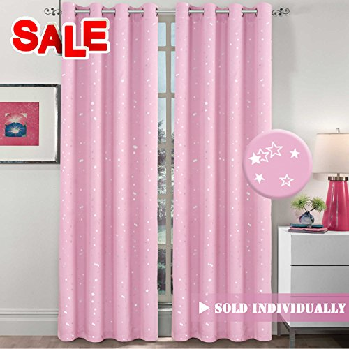 H.VERSAILTEX Thermal Insulated Star Window Curtains- Room Darkening Soft Microfiber Blackout Grommet Window Drapes for Girls Room, 1 Panel, 52 by 84 Inch Long