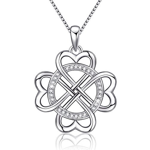 (925 Sterling Silver Vintage Endless Love Heart Irish Celtic Knot Pendant Necklace,Box Chain 18'')