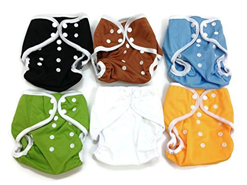 BB2 6 pcs Baby One Size Solid Leak-free Snaps Cloth Diaper Cover for Prefolds (One Size, Boys - A (6 Pieces))