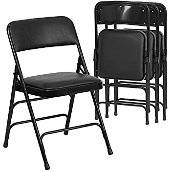 Flash Furniture 4 Pk. HERCULES Series Curved Triple Braced U0026 Double Hinged  Black Vinyl Fabric