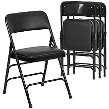 Flash Furniture 4 Pk. HERCULES Series Curved Triple Braced & Double Hinged Black Vinyl Fabric Metal Folding Chair