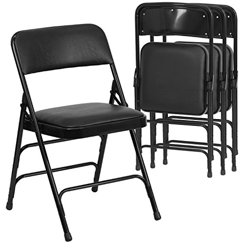Flash Furniture 4 Pk. HERCULES Series Curved Triple Braced & Double Hinged Black Vinyl Fabric Metal Folding Chair Contemporary Round Upholstered Chair
