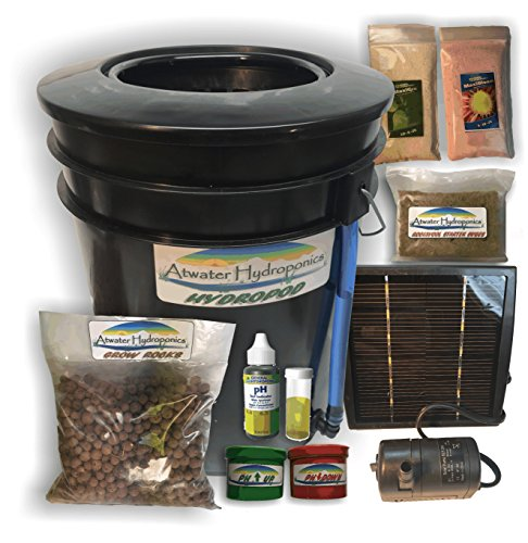 Plant Drip Hydroponics System (The Atwater HydroPod - Solar Powered DWC Deep Water Culture Hydroponic Garden Kit System - Bubble Bucket - Bubbleponics - Grow Your Own! Start Today!)