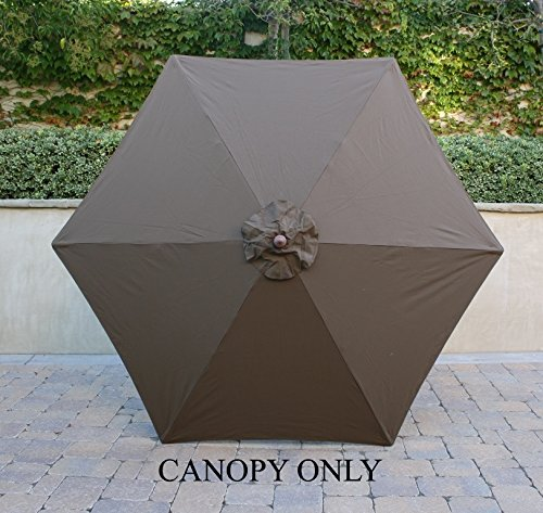 9ft Umbrella Replacement Canopy 6 Ribs in Cocoa (Canopy O...
