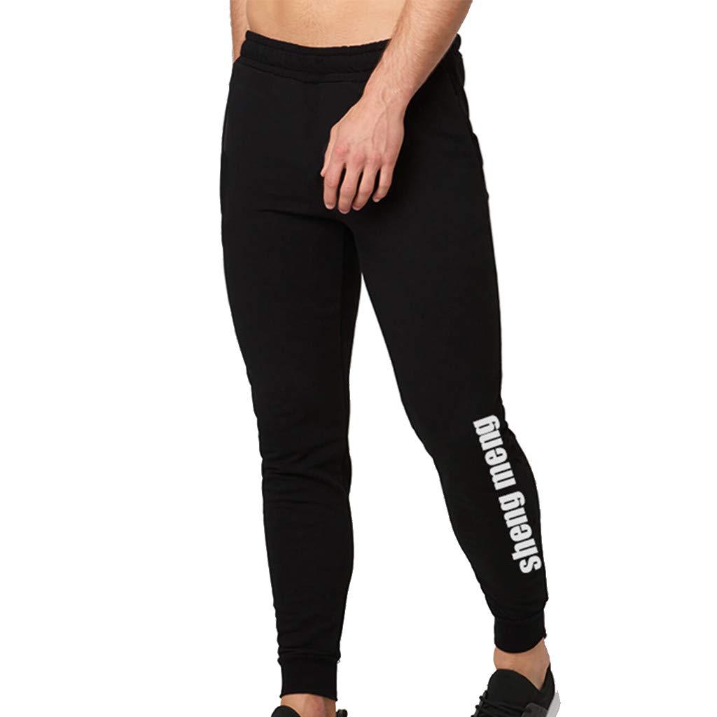 WUAI Mens Casual Pants Outdoors Running Jogger Drawstring Athletic Skinny Pants Sweatpants for Men(Black,US Size XS = Tag S)