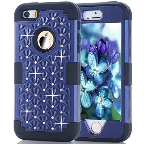 IPhone 5S hülle,iPhone 5 hülle,iPhone SE hülle,Lantier [weicher harter Tough Case] ??Designer Kristallbling Hybrid Rüstungs Kasten Abdeckung für Apple Iphone 5/5S/SE Deep Blue + Schwarz