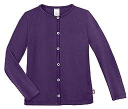 City Threads Girls Cardigan Top Button Down Sweater Layering School Play For Sensitive Skin SPD Sensory Friendly, Purple, 4