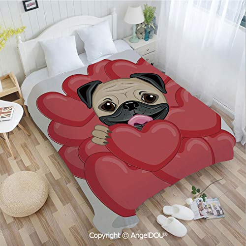 AngelDOU Soft Warm Flannel Fleece Blanket W72 xL86 Valentines Inspired Dog Drawing with Giant Hearts and Cute Pet Hand Drawn Decorative for Living Room/Bedroom.