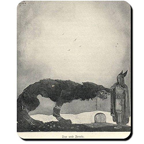 1911 Painting - Fenriswolf Fenrir Tyr Paintings John Bauer 1911 Son Loki Angrboða Swampwolf - Mouse Pad / Mousepad