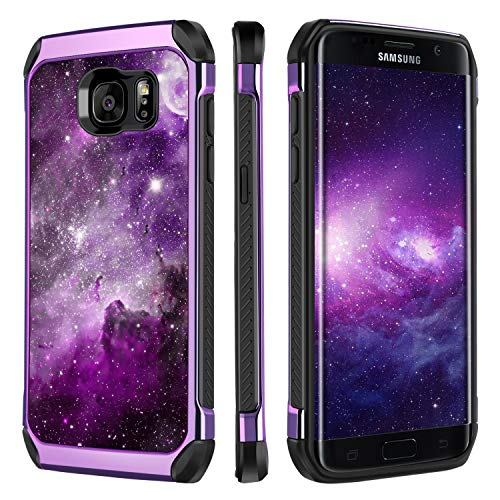 BENTOBEN Case for Galaxy S7 Edge Shockproof Protective Girl Women 2 in 1 Space Design Full Body Faux Leather Nebula Hard Cover Soft Bumper Star Phone Cases for Samsung Galaxy S7 Edge, Purple