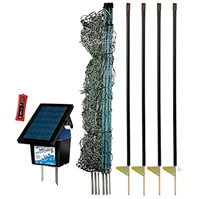 "Premier 48"" PoultryNet Plus Starter Kit - Includes Green PoultryNet Plus Net Fence - 48"" H x 100' L, Double Spiked, Solar IntelliShock 60 Fence Energizer, FiberTuff Support Posts & Fence Tester"