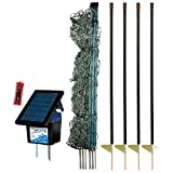 Premier 48'' PoultryNet Plus Starter Kit - Includes Green PoultryNet Plus Net Fence - 48'' H x 100' L, Double Spiked, Solar IntelliShock 60 Fence Energizer, FiberTuff Support Posts & Fence Tester