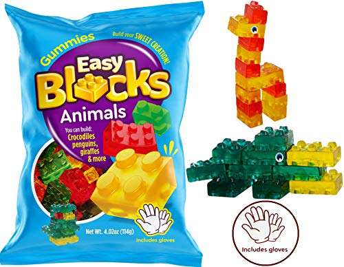 Gummy Blocks Candy (1 Packs Animal Style) Includes Gloves by Easy Blocks I Gummies Soft & Chewy I Play & Eat I More Play Value Than Gummy Bears or Gummi Worms I Anim-Blocks-1