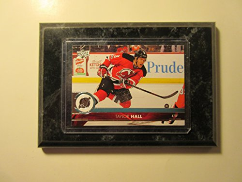 Taylor Hall New Jersey Devils Topps 2017-18 Upper Deck player card mounted on a 4