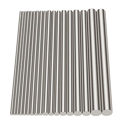 Glarks 18Pcs Stainless Steel Solid Round Rod Lathe Bar Stock Assorted for DIY Craft Tool, Diameter 2.5-8mm Length -
