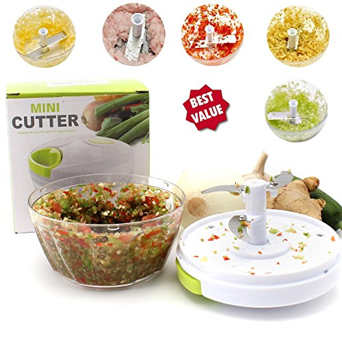 Sale-Manual Food Chopper Compact & Hand Held Vegetable Chopper / Mincer / Blender to Chop Fruits, Vegetables, Nuts, Herbs, Onions, Garlics for Salsa, Salad, Pesto, Coleslaw, Puree-16 Oz