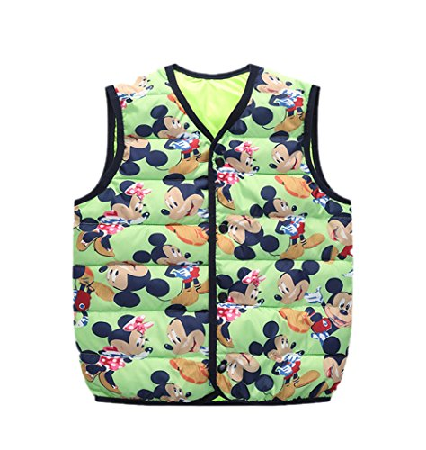 Warm Wadded Kids Children mickey green Jacket Lightweight Vest Outfits Cartoon Lemonkids;® npwSR44