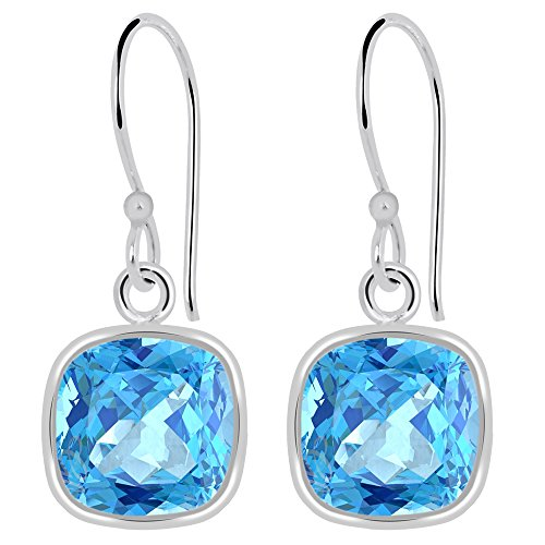 Orchid Jewelry Checkerboard Natural Blue Topaz 925 Sterling Silver Dangle Earrings, Genuine Gemstones, December Birthstone, Handcrafted, for Girls and Women's (7 Mm Cushion, 3.00 Cttw)
