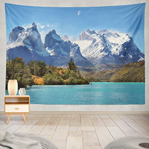ASOCO Tapestry Wall Handing Azure Lake Foot Magnificent Snow-Covered Cliffs of National Park Torres Del Paine Chile Wall Tapestry for Bedroom Living Room Tablecloth Dorm 60X80 Inches