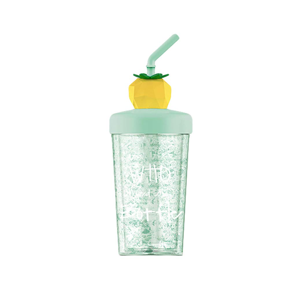 Straw Water Cup, Summer Fruit Ice Cup, Straw Plastic Gift Cup, Girl Child Juice Mixing Cup 270ml (A)