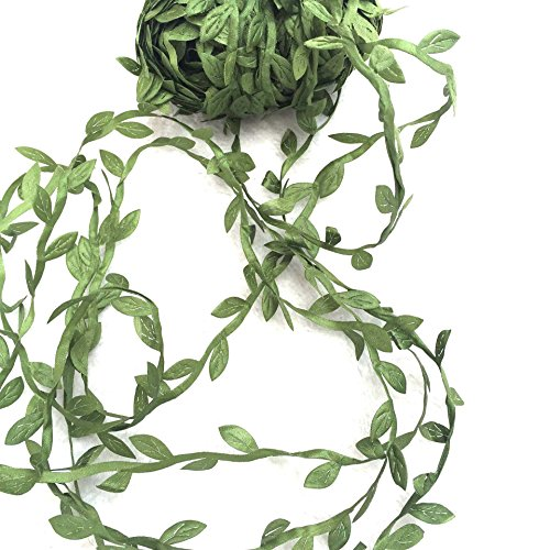 levylisa 21.8 Yards Olive Leaf Vine Ribbon, DIY Leaf Headband, Leaf Balloon Tail, DIY Leaf Crown, DIY Leaf Napkin Rings, Leaves Garland, Ribbon Craft Sewing DIY Wedding Bouquet, DIY Wedding -