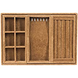 Stackable Jewelry Organizer 4-piece Tray Set - Modular Jewelry Storage that hides easily in a dresser drawer. (Full 4pc Set - Espresso)