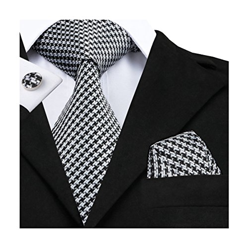 Necktie Stripes Handkerchief - Hi-Tie Men White Black Stripes Tie Handkerchief Necktie with Cufflinks and Pocket Square Tie Set