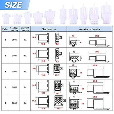 Glarks 700Pcs 2.8mm 2 3 4 6 9 Pin Plug Housing Pin Header Crimp Electrical Wire Terminals Connector and 30 Sets 4mm Car Motorcycle Bullet Terminal Assortment Kit for Motorcycle, Bike, Car, Boats: Automotive
