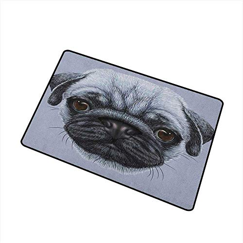 Pug Welcome Doormat Realistic Style Detailed Young Dog with Cute Giant Eyes Pure Breed Pug Blue Backdrop All Season Universal 20