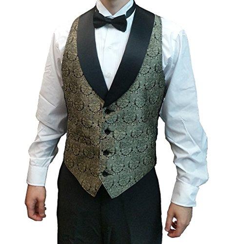 (Men's Gold Symphony Jacquard Tuxedo Vest with Black Lapel and Black Bow Tie Set-X-Large)