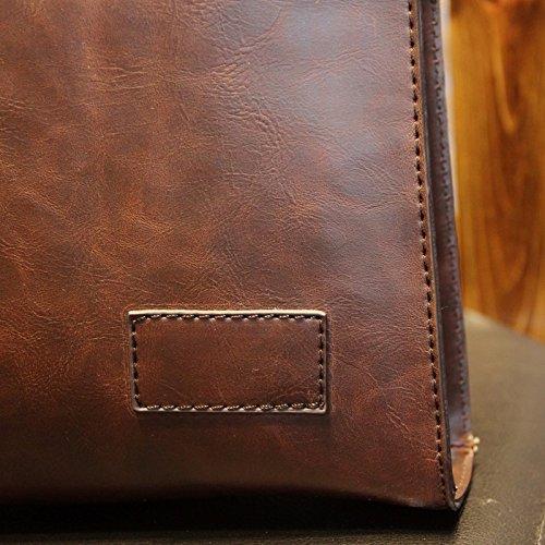 ZHUDJ Design Tide Package Fashion Leisure Bag Bag Business Men Retro British Style Handbag Briefcase,Coffee Coffee