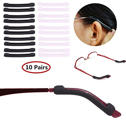YR Anti-Slip Eyeglasses Temple Tips Sleeve Retainer, Elastic Soft Silicone Comfort Glasses Retainers For Sunglasses Reading Glasses Eyewear, Black &Clear, 10 - Temples Glasses On