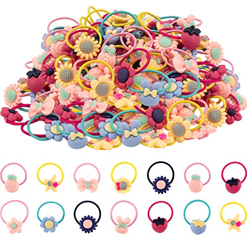 Madholly 100 pieces Girls Hair Ties, Girl Hair Elastic Ropes for Pigtail Ponytail Holder ()