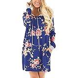 Baguet Women Casual Dress Floral Printed Hoodie Sweatshirt Loose Pullover with Pockets Side