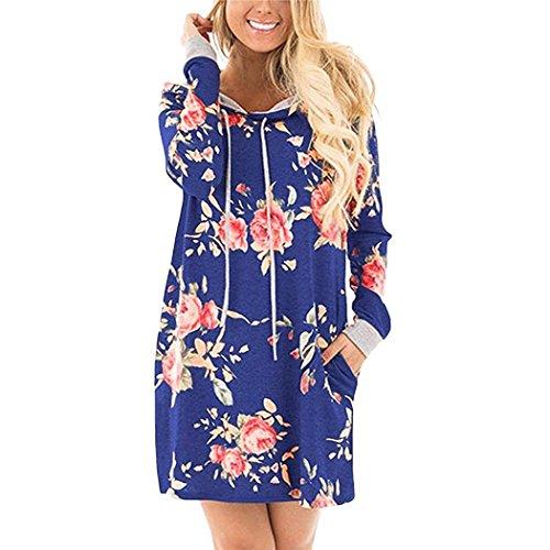 Baguet Women Casual Dress Floral Printed Hoodie Sweatshirt Loose Pullover with Pockets Side by Baguet