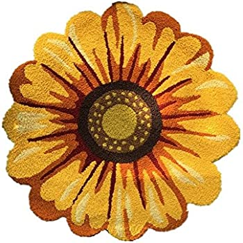 Amazon yellow flowers round area rugs judy dre am handmade yellow flowers round area rugs judy dre am handmade sunflowers acrylic rug bedroomliving mightylinksfo