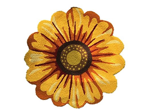 Judy Dre am Yellow Flowers Round Area Rugs Handmade Sunflowers Acrylic Rug Bedroom/Living Room/Kitchen/Bathroom/Bedside Floor Mat Non-Slip Washable Doormat 47