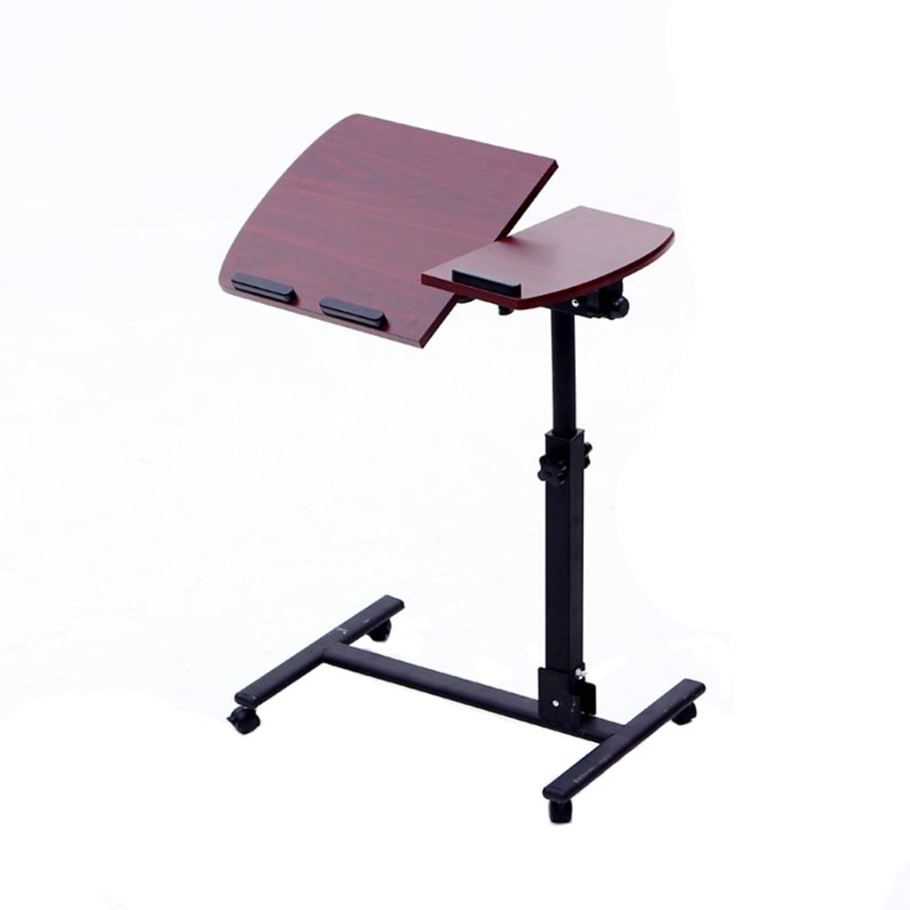Roscloud@ Laptop Table Household Lazy Table It Can Move Collapsible Apply to Bedroom Living Room Sofa Side Bedside Height Adjustable Flexible and Convenient (Color : Red Walnut)