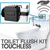 "TECHO Touchless Toilet Flush Kit, Battery Operated, 8"" Sence Range, Toolless installation, Automatic Motion Sensor Toilet Flush Kit"