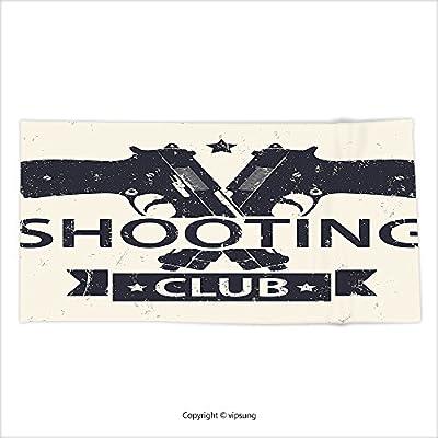 Vipsung Microfiber Ultra Soft Bath Towel Vintage Shooting Club Emblem Sign With Crossed Guns Pistols Grunge Background Hob Theme Cream Black For Hotel Spa Beach Pool Bath
