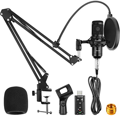 2020 Upgraded Condenser Microphone Bundle for Computer, ChromLives BM-800 Mic with Boom Arm for Gaming, Podcast,YouTube on PC, Recording, Live Streaming,Mic Studio Bundle/Arm Stand (9Pcs Bundle)