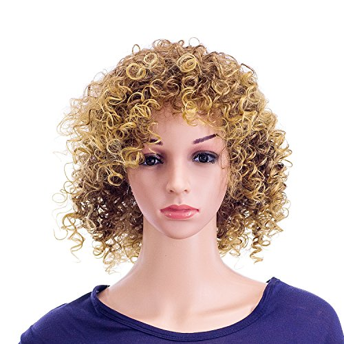 SWACC 12-Inch Short Big Bouffant Curly Wigs for Women Synthetic Heat Resistant Fiber Hair Pieces with Wig Cap (Light Brown Auburn Blonde ()